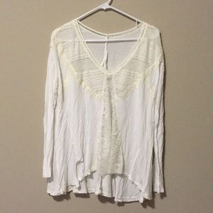 Tops - White lace long sleeve shirt